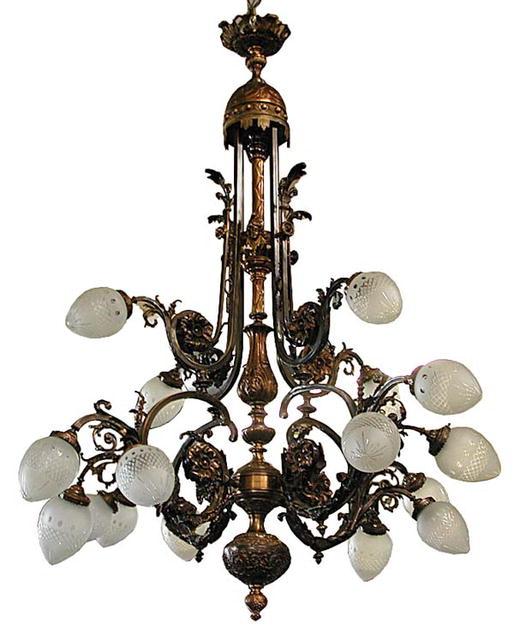 Large antique bronze french 16 light belle epoque chandelier for sale