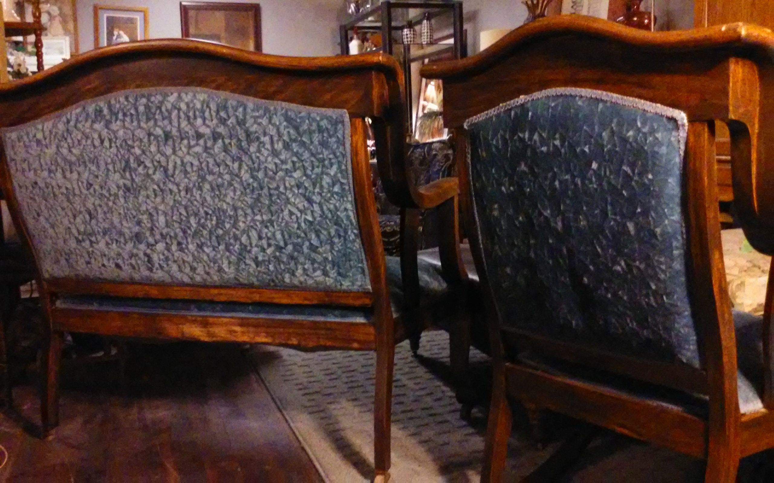 american antique late 1800 early 1900 2 piece parlor furniture settee and rocking chair for. Black Bedroom Furniture Sets. Home Design Ideas