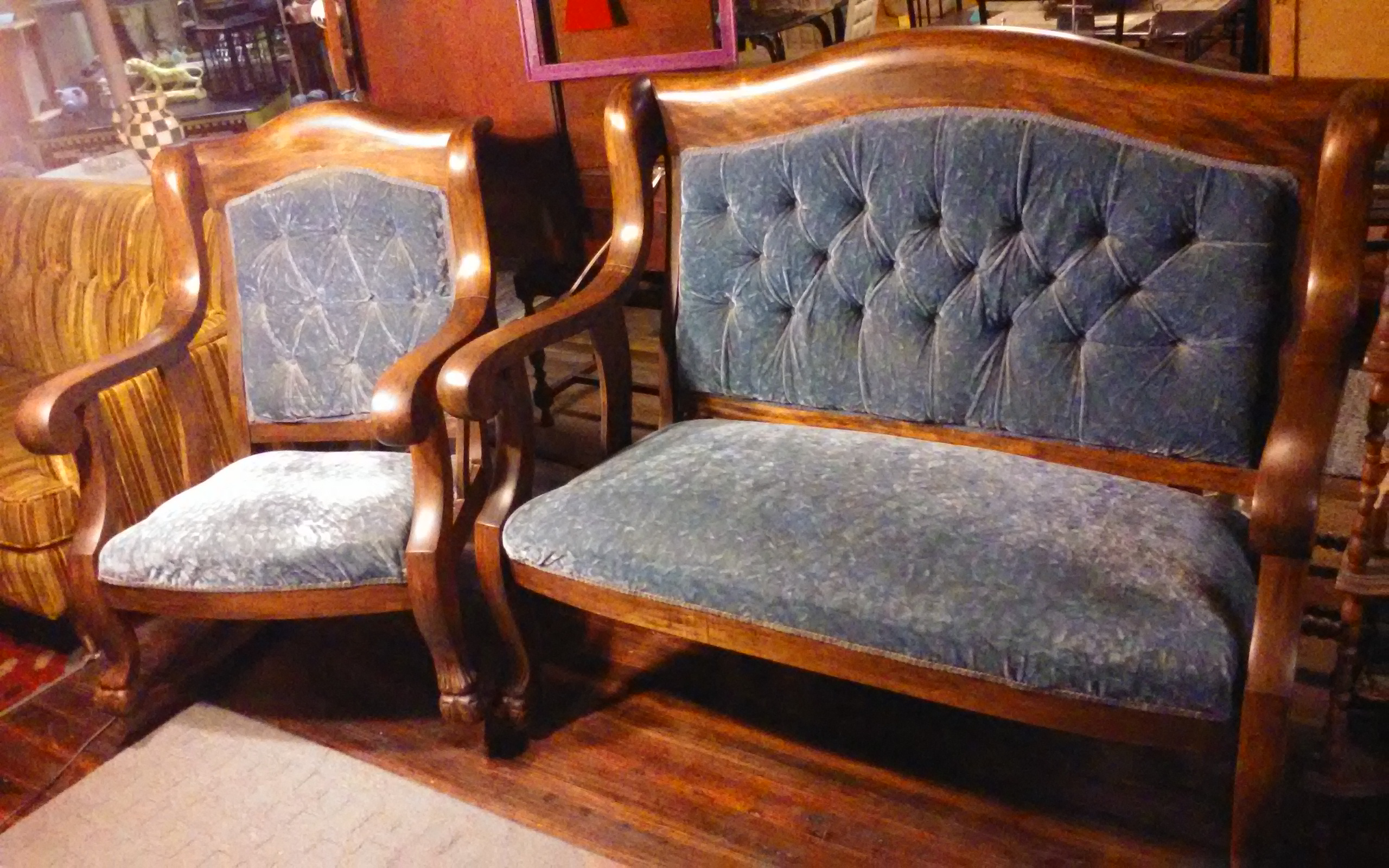 1800 - early 1900 2 piece parlor furniture settee and rocking chair ...