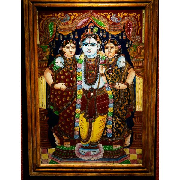 Krishna And Radha Reverse Glass Painting For Sale Antiques Com