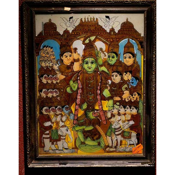 Lord Vishnu Glass Painting For Sale Antiques Com Classifieds