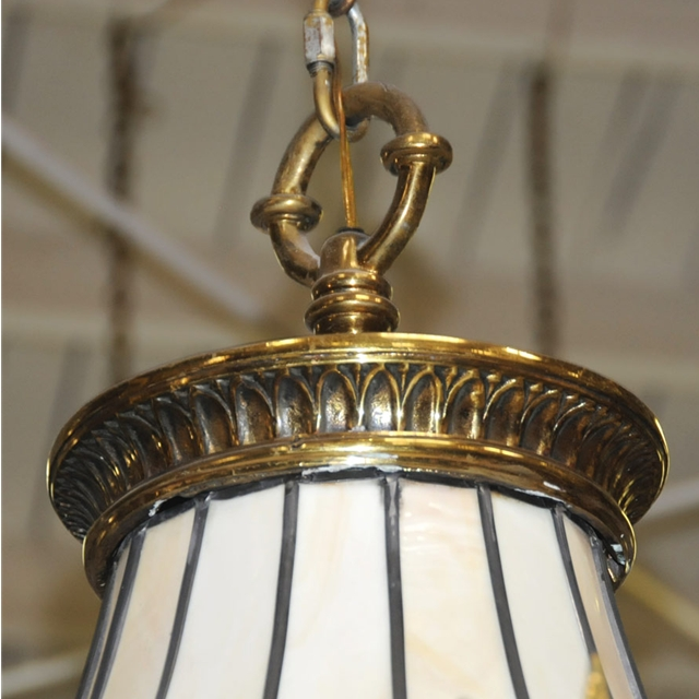 cast bronze leaded glass canopied chandelier for sale. Black Bedroom Furniture Sets. Home Design Ideas