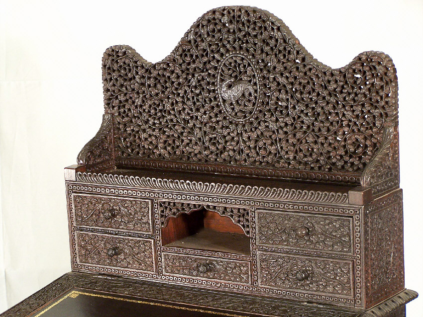 7797 Anglo Indian Carved Rosewood Davenport Desk India For