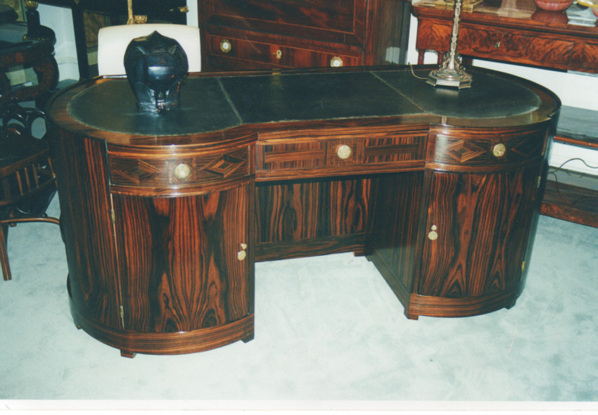 8349 art deco macassar kidney shape desk for sale for Kidney desk for sale
