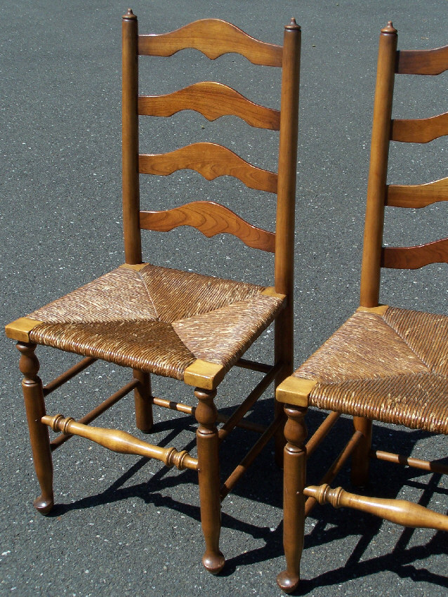 7799 set of 4 stickley ladder back maple chairs with rush Ladder back chairs