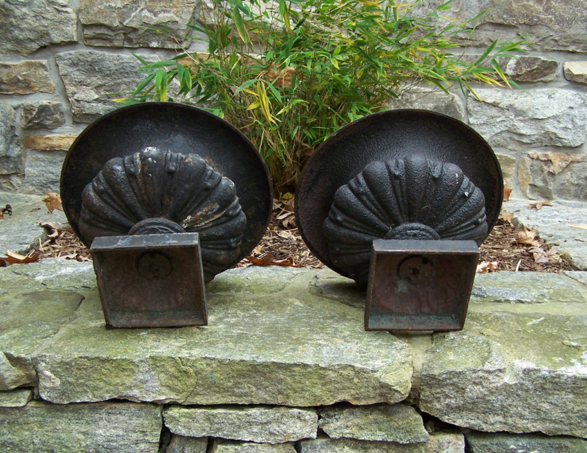 8271 Rare Small Pair Of Victorian Cast Iron Planters C1880 For Sale