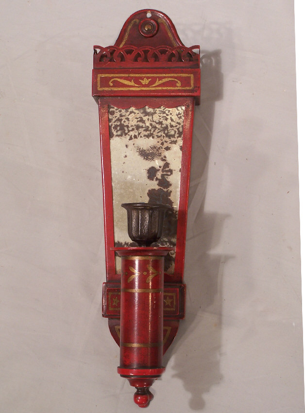 Antique Tin Wall Sconces : #7871 Pair red tin candle wall sconces by Caldwell c1910 For Sale Antiques.com Classifieds