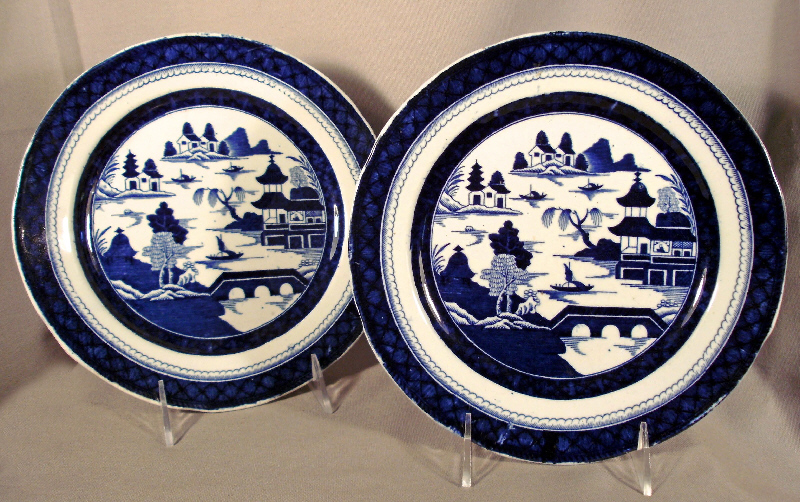 A rare pair of Mason\u0027s ironstone porcelain heavy shallow plates in the \ Old Canton\  pattern; overall cobalt decoration on a white background detailing the ... & 7691 Rare pair of Masons ironstone porcelain plates in Old Canton ...