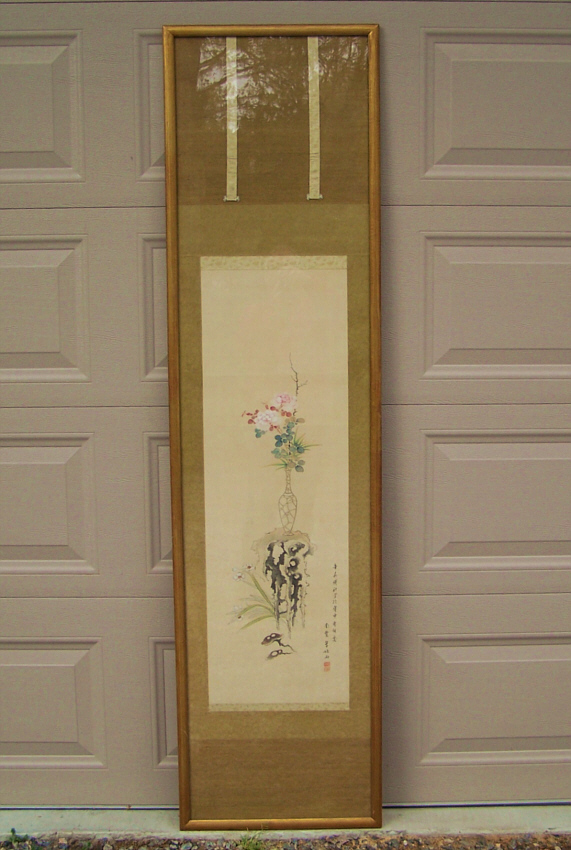 8153 19th Century Japanese Silk Scroll For Sale