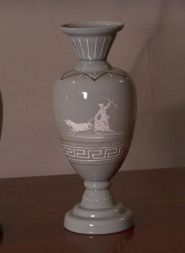 7875 Classical Bristol Glass Pair Vases For Sale Antiques