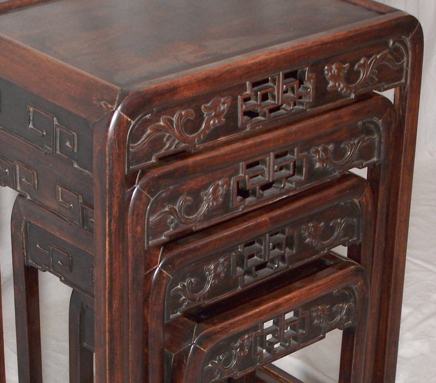 9184 Antique Set Of 4 Chinese Stacking Tables Circa 1870   For Sale