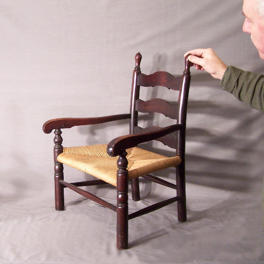 773 Child's solid mahogany ladder back arm chair c1900 - For Sale - 773 Child's Solid Mahogany Ladder Back Arm Chair C1900 For Sale