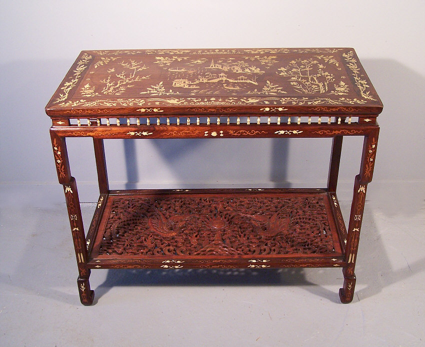 7789 Chinese inlaid rosewood console table c1820 For Sale
