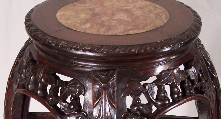 8416 antique tall chinese rosewood marble top plant stand c1860 for