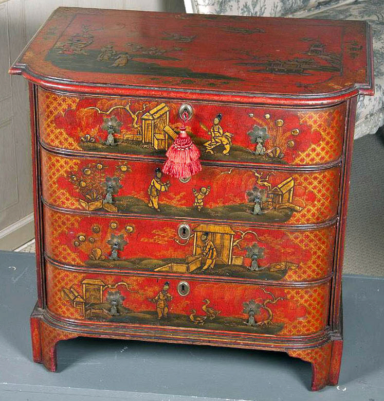 7686 Centennial English Chinoiserie Decorated Red Lacquer