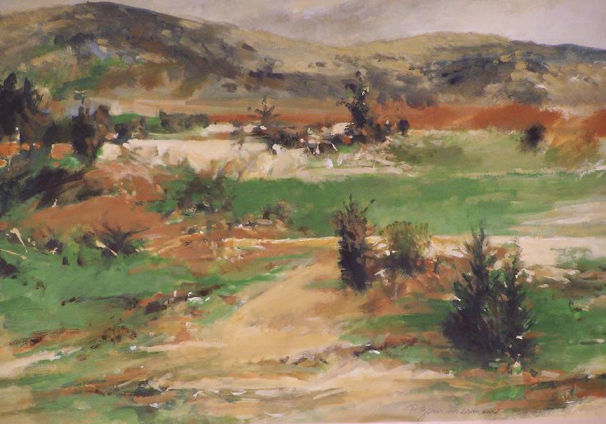 7747 Paul Warren Zimmerman Abstract Landscape Watercolor
