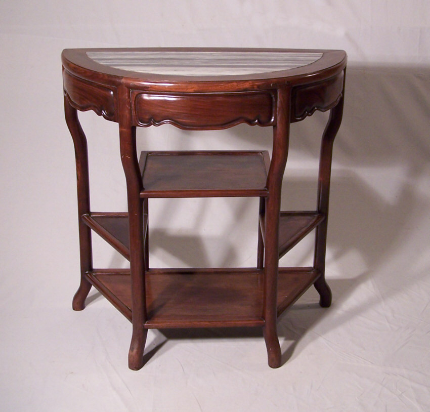8372 Chinese Antique Marble Top Half Round Table C1860 For