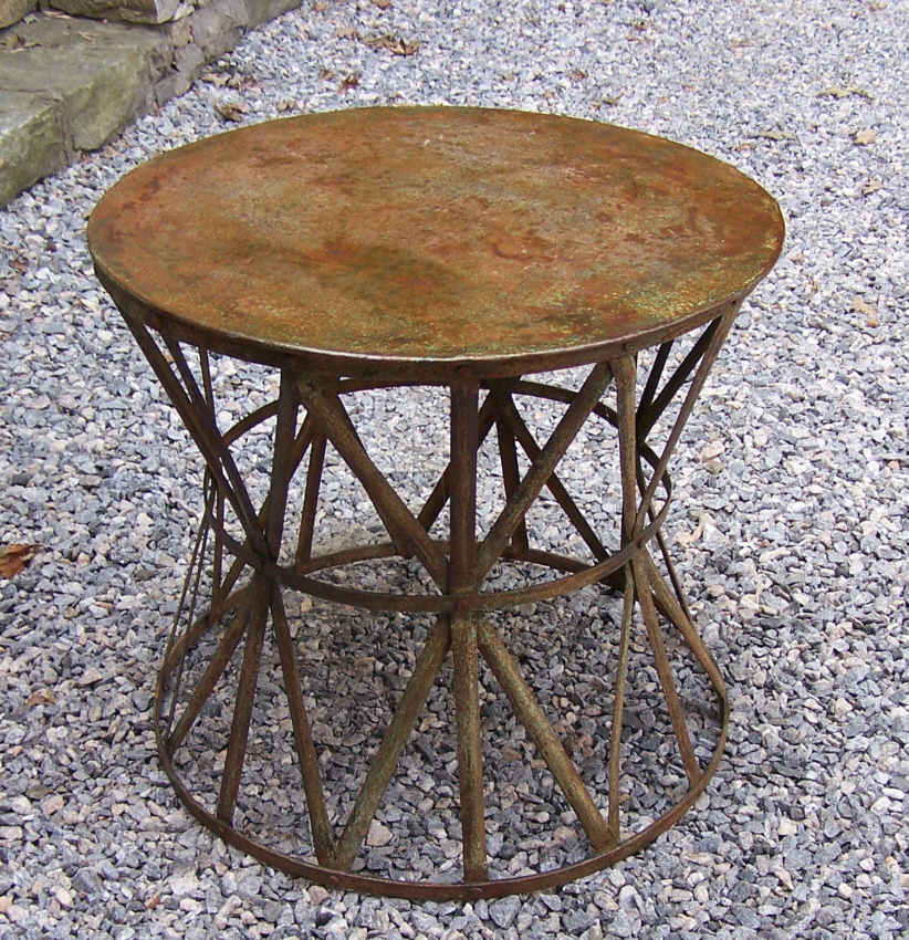 9252 vintage round metal patio table with weathered for Metal patio tables sale