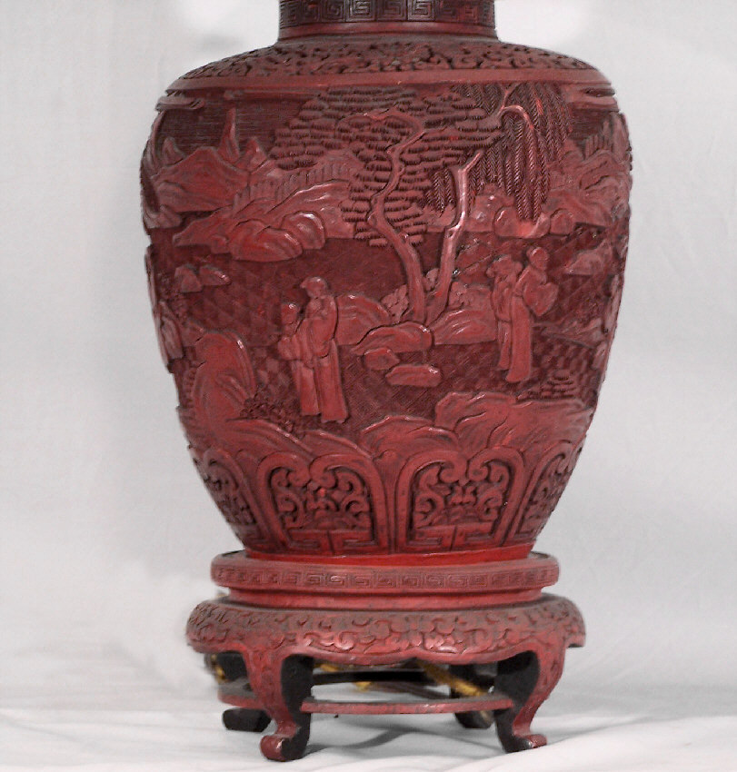 8011 Chinese Cinnabar Lamp C1820 To 1870 For Sale
