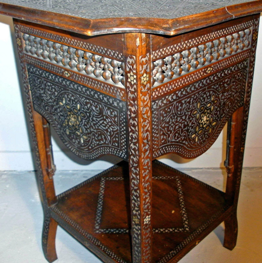 8459 Middle Eastern Moorish Style Carved Hardwood Table C1860 For Sale Classifieds