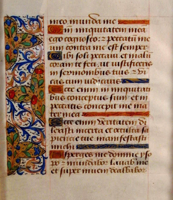 8461 15th Century French Medieval Book Of The Hours Folio