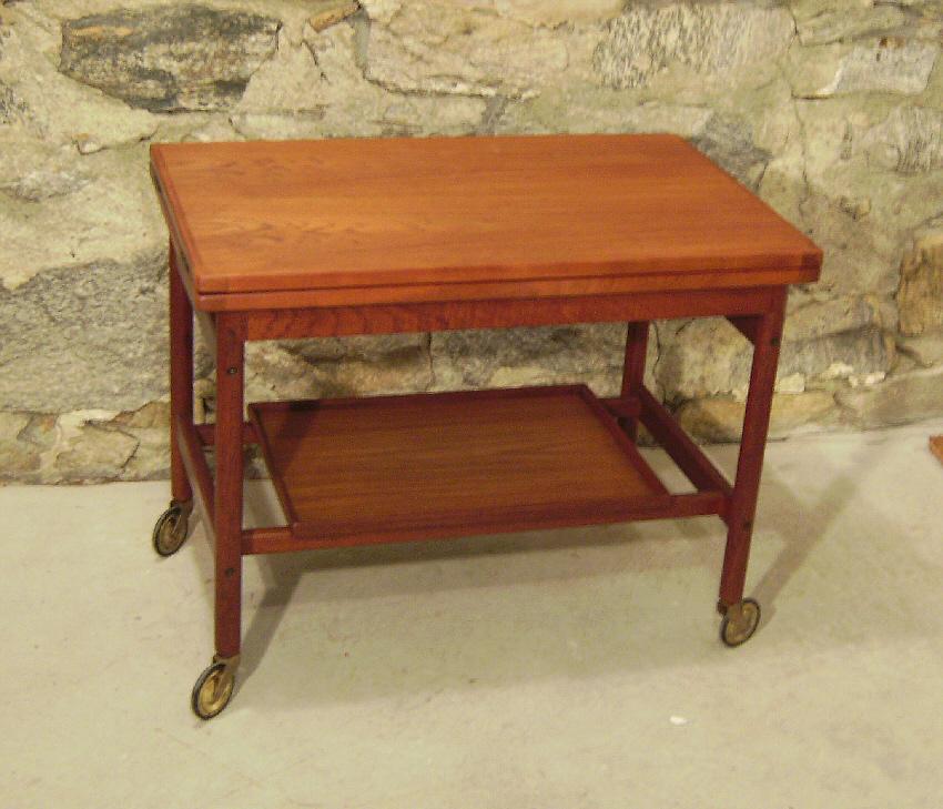 7667 Danish Mid Century Modern Coffee Table Tea Cart C1960 For Sale