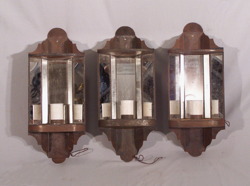 Antique Tin Wall Sconces : 7856 Set of 3 tin hanging corner wall sconces For Sale Antiques.com Classifieds