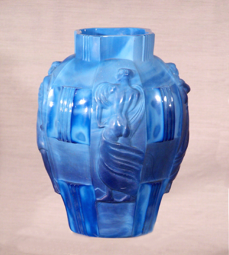 7732 art deco blue four figure ground bottom art glass vase for sale classifieds. Black Bedroom Furniture Sets. Home Design Ideas