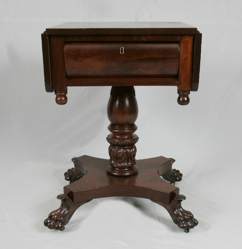 7822 period american empire mahogany work table claw feet. Black Bedroom Furniture Sets. Home Design Ideas