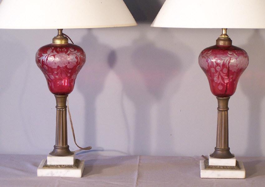 7828 Pr Antique New England Etched Cranberry Glass Oil