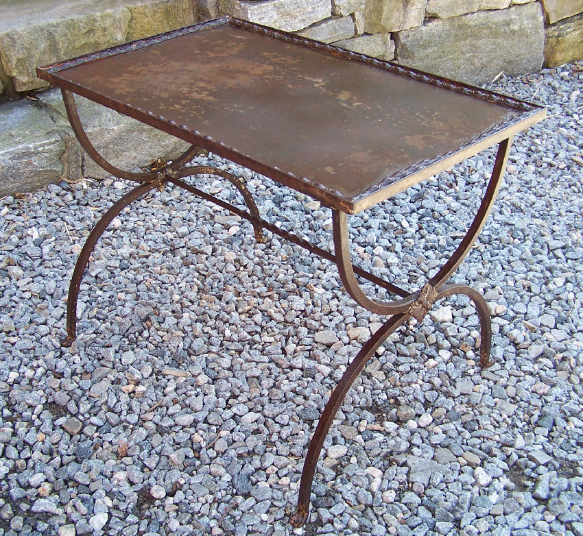 French Wrought Iron Metal Coffee Table C1920 With Traces Of Original Blue  Painted Surface. Measures 25 Inches Wide By 15.5 Inches Deep And 19 Inches  High.
