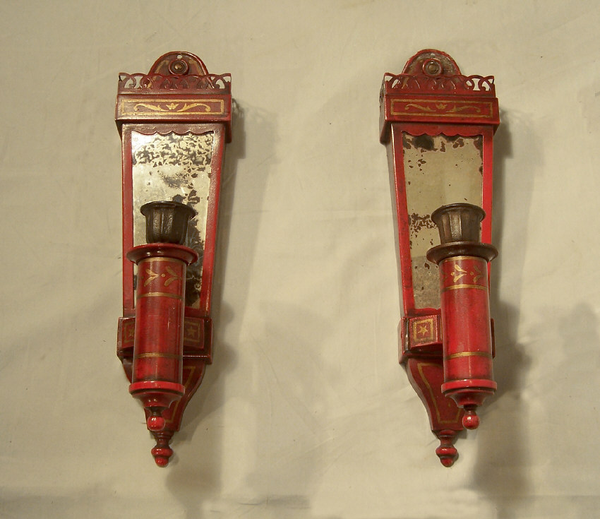 #7871 Pair red tin candle wall sconces by Caldwell c1910 For Sale Antiques.com Classifieds