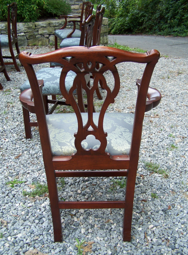 Set of twelve vintage Baker Chippendale style mahogany dining chairs. Each  chair measures 22 inches wide, 19 inches deep, 37.75 inches high, and 19  inches ... - 8195 Set Of Twelve Vintage Baker Chippendale Mahogany Dining Chairs