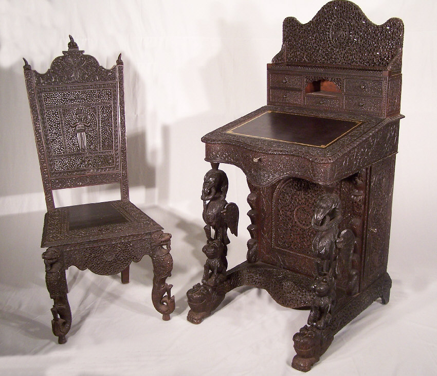 Anglo Indian Western India Hand Carved Rosewood Davenport Desk From Ay Circa 1860 1870 Birds And Snakes Are Finely In An All Over Design