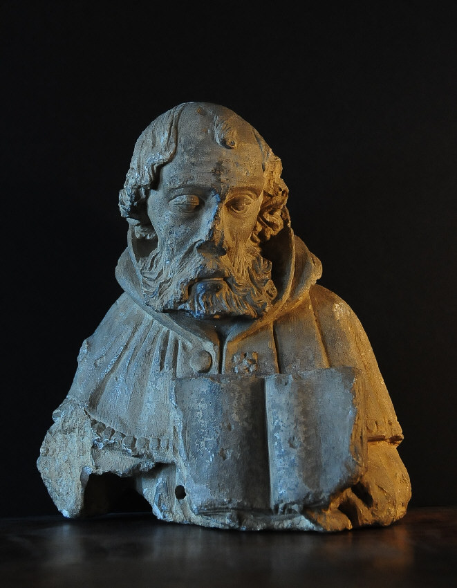 French th century limestone carving of a man with