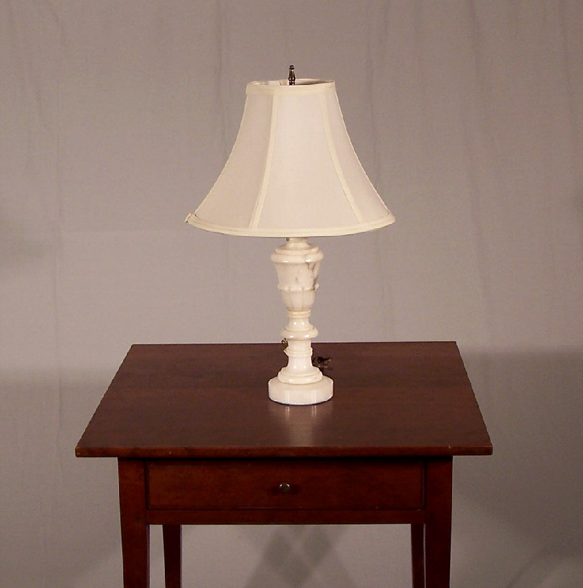 7786 alabaster table lamp with shade c1930 for sale. Black Bedroom Furniture Sets. Home Design Ideas