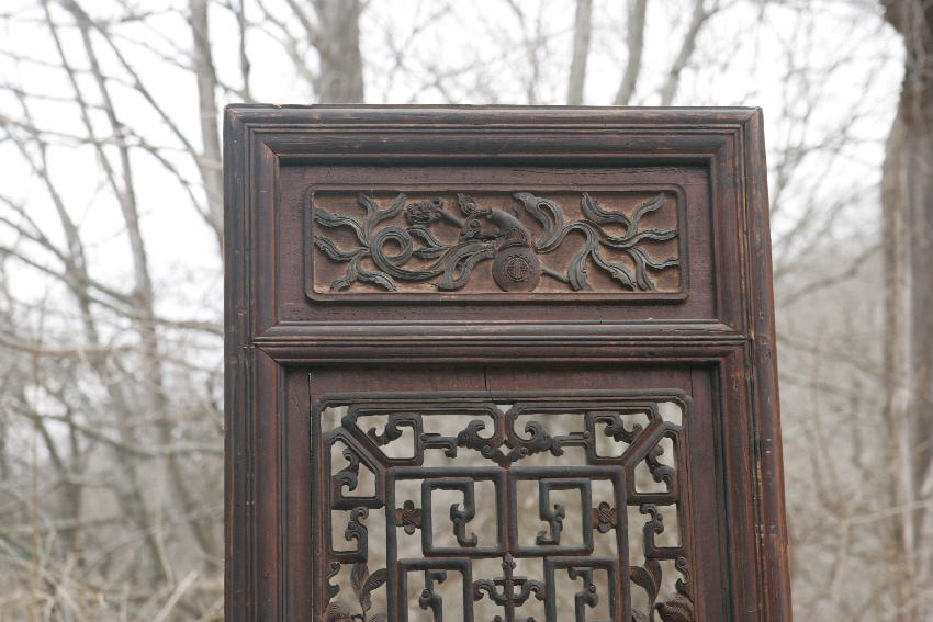 8079 pair of chinese hand carved wood temple doors c1700 for Hand carved wood doors