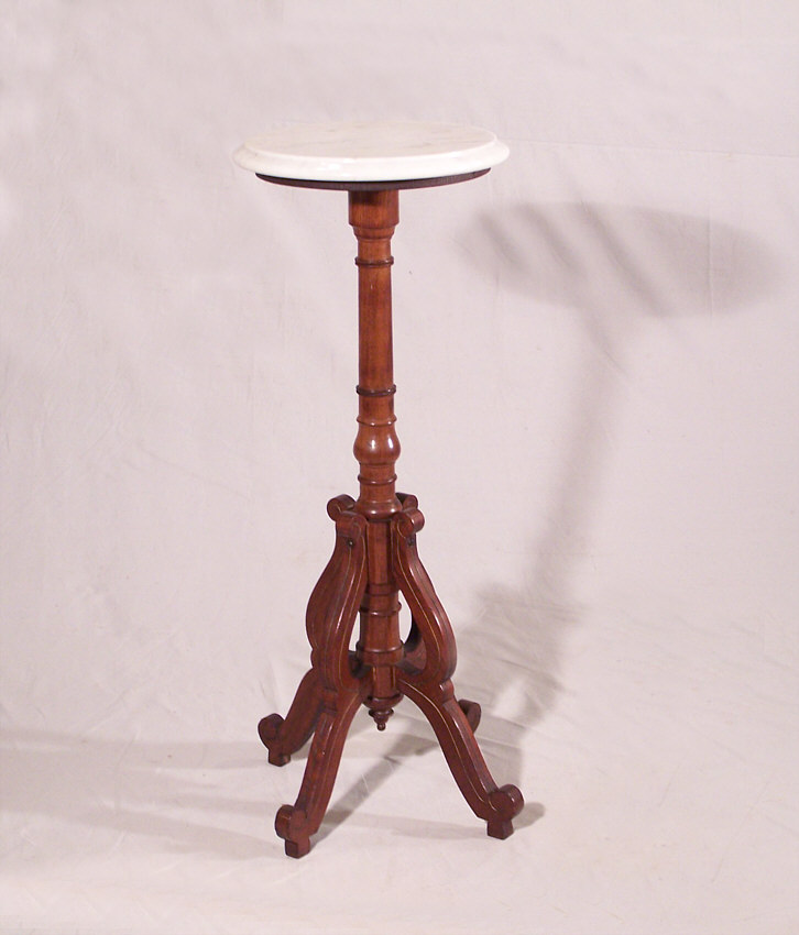 Victorian black walnut small marble top plant stand c1875 for sale