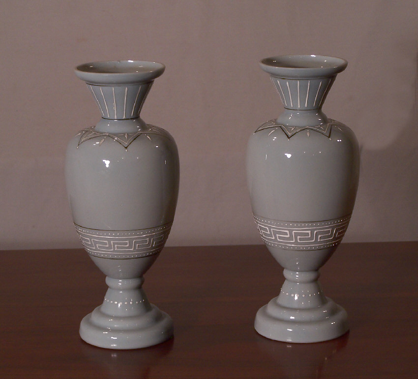 7875 Classical Bristol Glass Pair Vases For Sale Antiques
