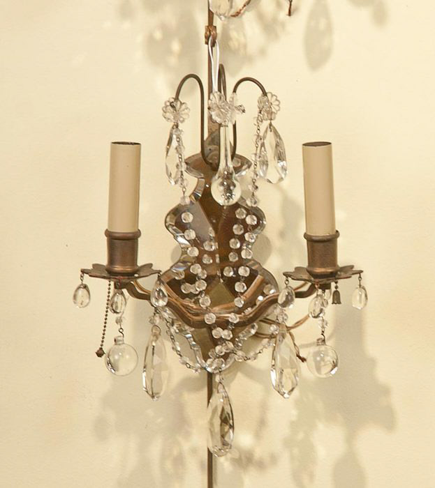 Wall Sconces Antique Style : 8311 Set of four Regency style two light wall sconces with mirrors For Sale Antiques.com ...