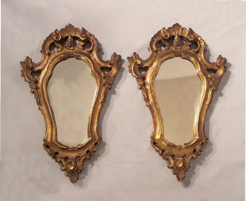 7983 pair of vintage italian baroque wall mirrors c1900 for Italian baroque mirror
