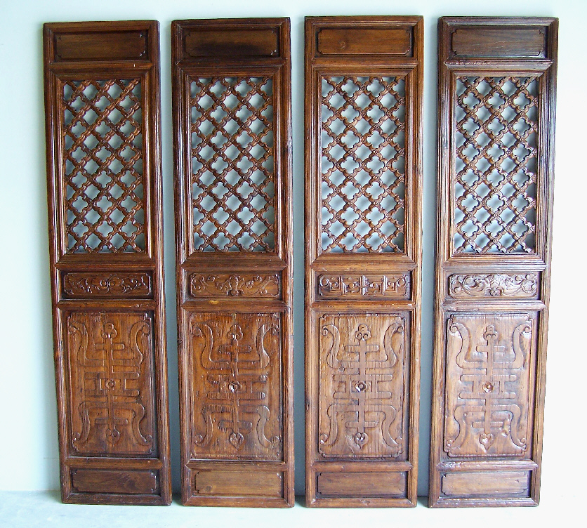 7758 set of four chinese carved wood doors with open for Wood carving doors photos