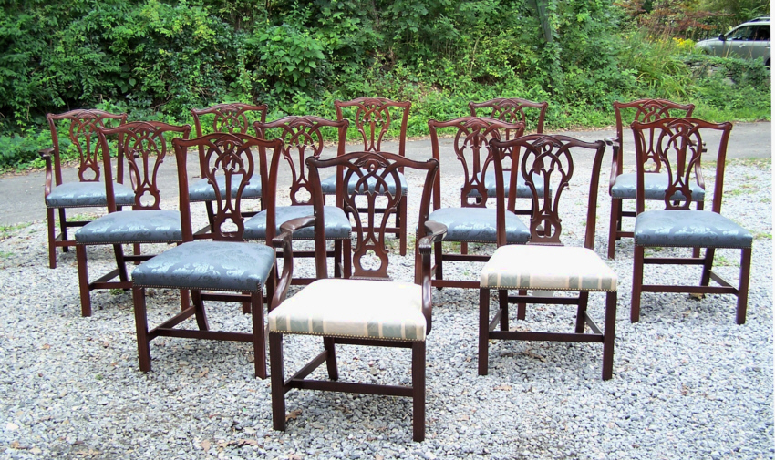 8195 Set of twelve Vintage Baker Chippendale mahogany dining chairs - For  Sale - 8195 Set Of Twelve Vintage Baker Chippendale Mahogany Dining