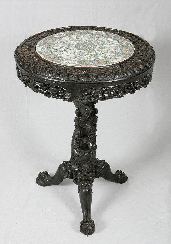 7812 chinese rosewood carved dragon base table with rose for Antique chinese tables for sale
