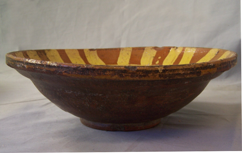 8300 19th century Hunza clay pottery bowl with yellow slip