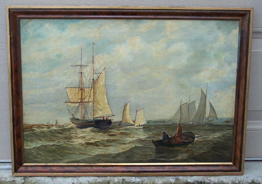 8051 oil painting marine scene three sailboats and a for Oil art for sale