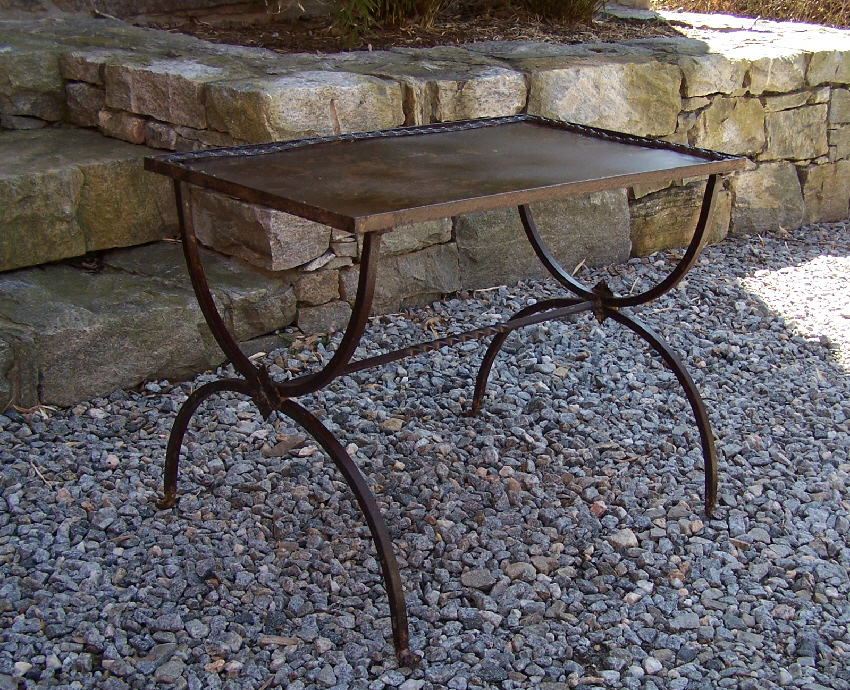 8137 French Wrought Iron Metal Coffee Table C1920 For