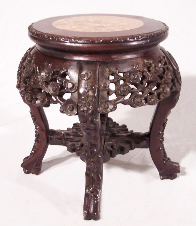 8412 small chinese rosewood plant stand with marble top c1860 for sale