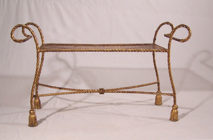 8392 Vintage Gilt Iron Rope Twist Window Bench For Sale Classifieds
