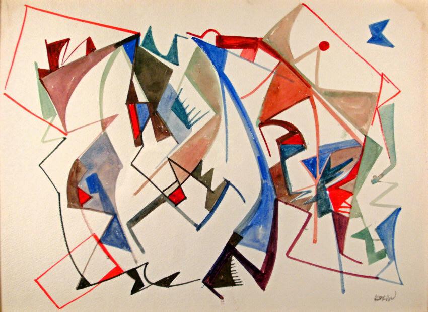 8248 sacha kolin geometric abstract watercolor c1950 for sale